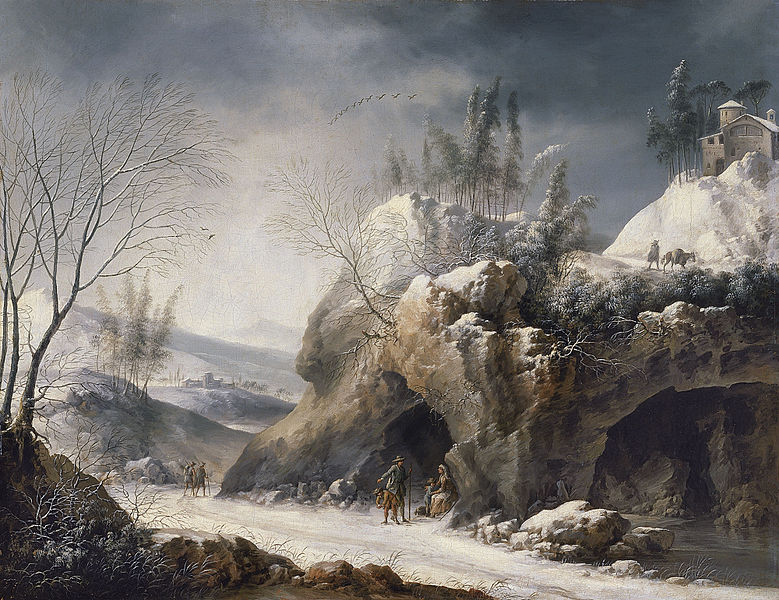 Winter Landscape with Peasant Family by Foschi. Wikipedia
