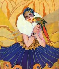 1920s Peoples home journal girl parrot
