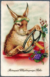 Vintage rabbit driving