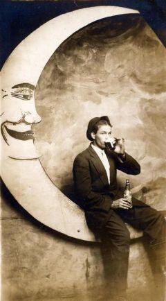 1920s Man on Moon Drinking