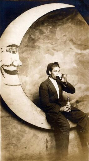 1920s Man on Moon Drinking