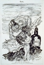 """Political cartoon criticizing the alliance between the prohibition and women's suffrage movements. The genii of Prohibition emerges from a bottle labelled """"intolerance"""". Wikipedia."""