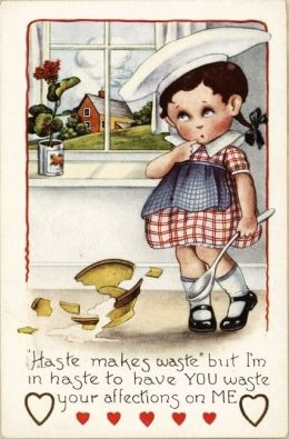 Vintage girl broken dish card
