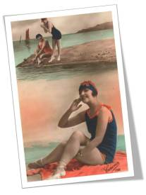 1920s Seaside Postcard Flapper
