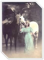 1903 Girl 2 Horses postcard