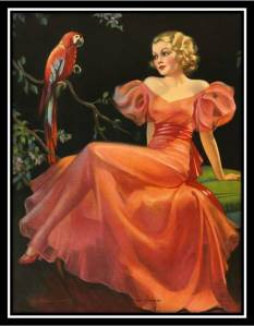 Vintage girl and parrot