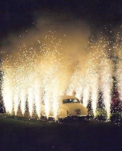 Celebrate car in fireworks