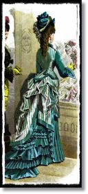 Victorian gown bustle stripes