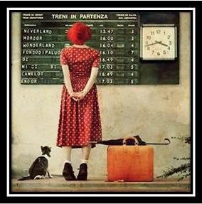 Girl n Cat at Train Station