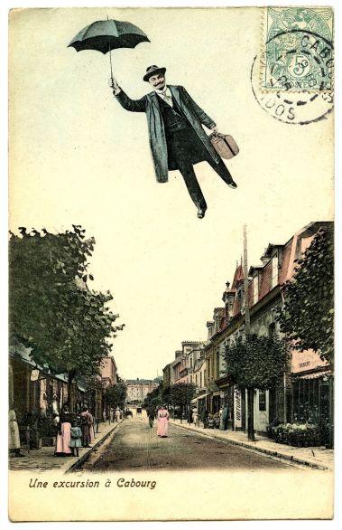Flying man w umbrella