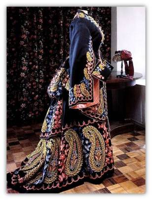 Navy embroidered Victorian gown