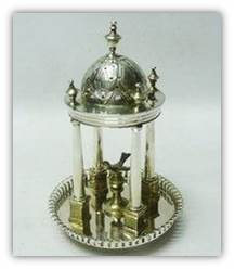 Victorian silver toothpick holder shaped as a gazebo with a bird inside
