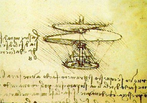 da Vinci drawing of aerial screw, Wikimedia