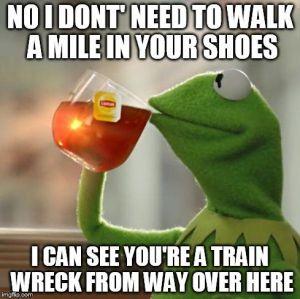 Kermit dont walk mile shoes