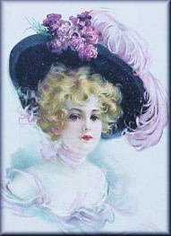 Victorian w purple feather hat