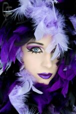 Woman in purple boa