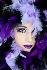 Woman in purple boa