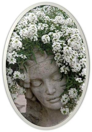 Stone Planter Flowers Face