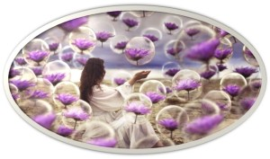 woman purple flowers bubbles