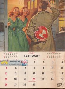 1955 February Valentine calendar