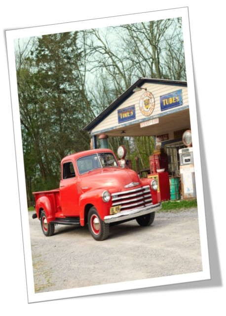 Red Truck Gas Vintage