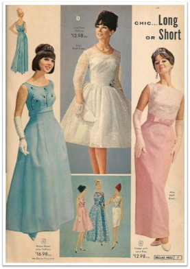 1960s Bellas Hess formal wear ad