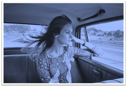 Jean Shrimpton in car wind