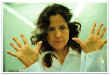 Ally Sheedy behind glass Psych