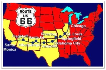 Rt 66 red yellow map