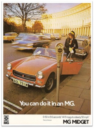 MG Midget ad vintage parking city