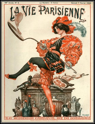 1925 La Vie Parisienne woman pancake cooking