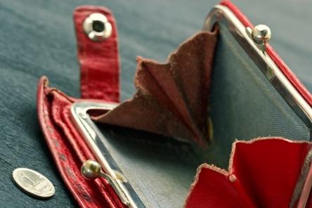 Shabby purse with coin