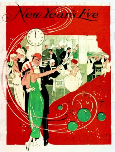 1920s Illustration New Years Eve party