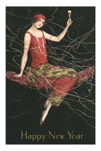 Flapper Happy New Year champagne red