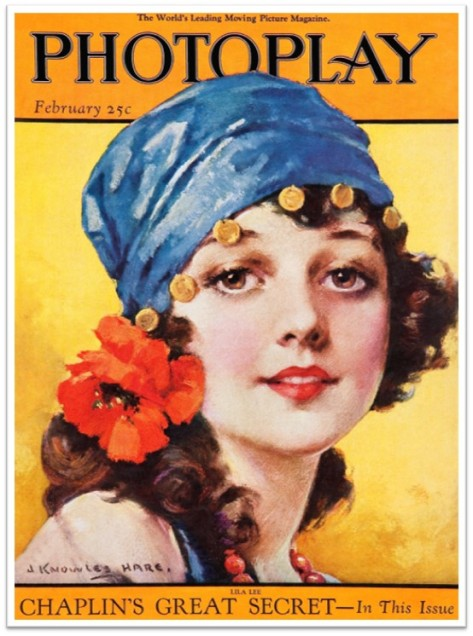 1922_Feb Photoplay girl scarf coins flower