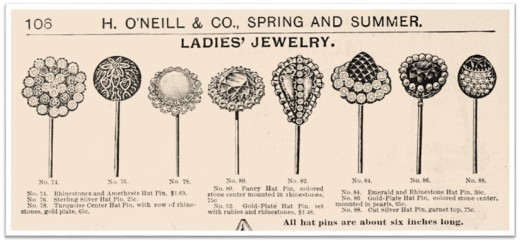 Hatpins Ad 1898