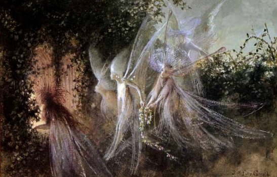 Fairies Looking Through A Gothic Arch_John Anster 1900s