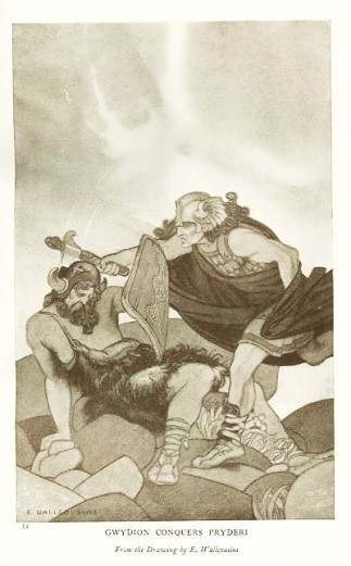 Gwydion Conquers Pryderi by E Wallcousins 1920s