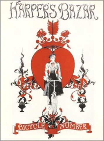 Harper's Bazar, March 1896, Victorian woman riding bicycle with red heart design background