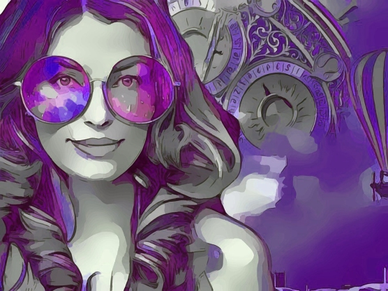 purple Steampunk woman drawing_Pixabay
