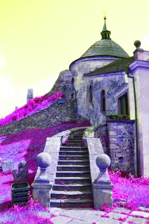 Purple Stone chapel ruin stairs Pixabay