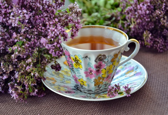 Image of teacup and saucer with lavender flowers