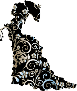 silhouette of Victorian woman, flower designs