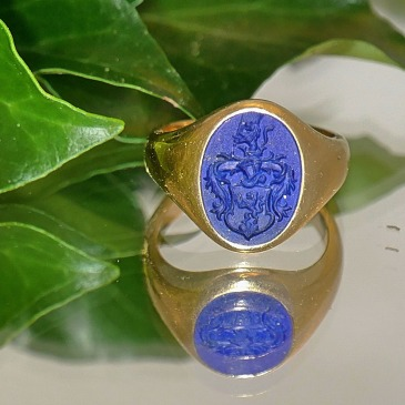 Signet ring, blue stone coat of arms