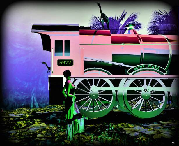 Lulu train pink-green 1 Million B-Lulu