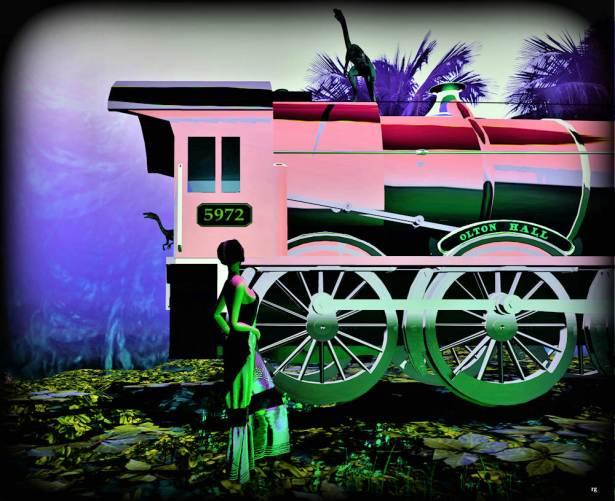 Lulu train pink-green 1 Million B-Lulu