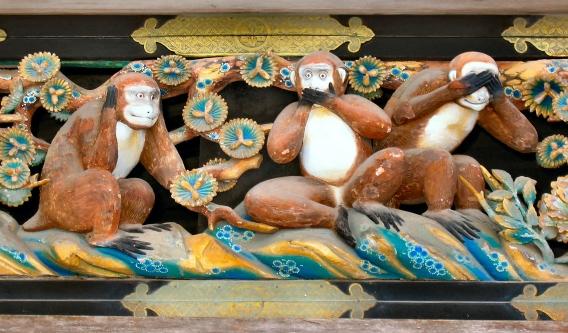 Three Wise Monkeys at the Tosho-gu Shrine, Wikipedia