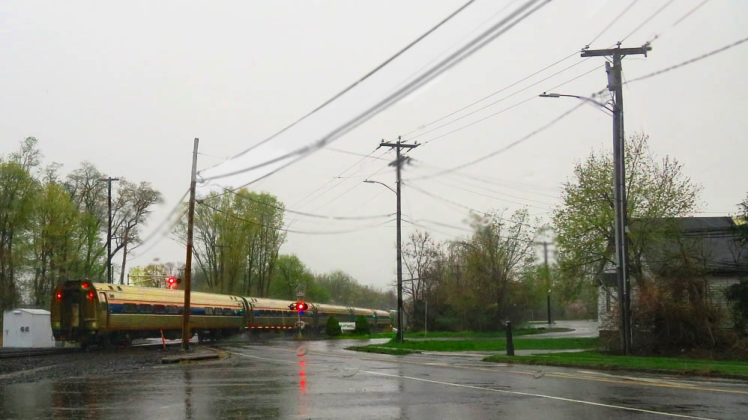 Train at crossroads