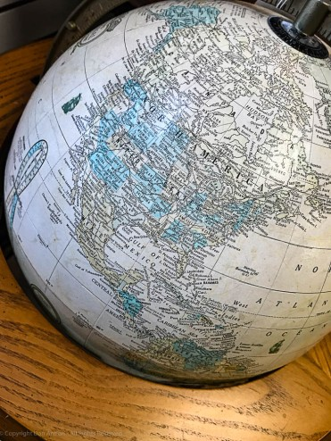 Antique globe showing the Mississippi Delta, by Dan Antion
