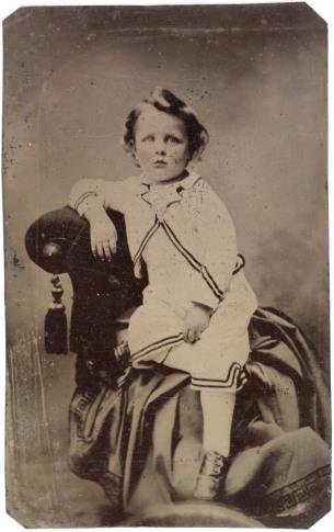Tintype photo of boy circa 1856, Wikimedia